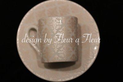 画像2: 白磁用転写紙 tiny damask  メタリックベージュ