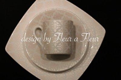 画像3: 白磁用転写紙 tiny damask  メタリックベージュ