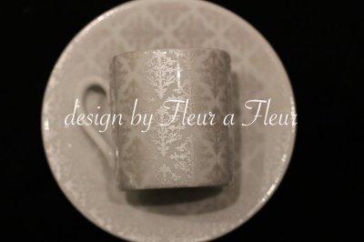 画像1: 白磁用転写紙 tiny damask  メタリックシルバー
