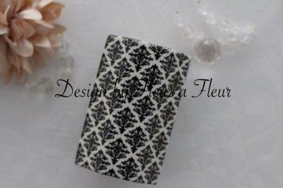 画像1: 白磁用転写紙 tiny damask  ブラック
